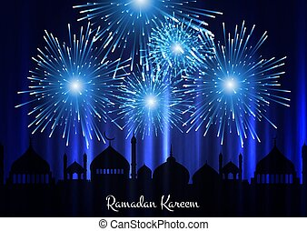 ramadan kareem background with mosque silhouette and fireworks 0603