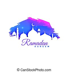 ramadan kareem background with mosque silhouette and watercolor background