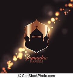 Ramadan Kareem background with mosque silhouette on bokeh lights design