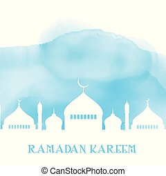 ramadan kareem background with mosque silhouette on watercolour texture 2103