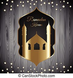 ramadan kareem background with mosque silhouette on wood texture 1204