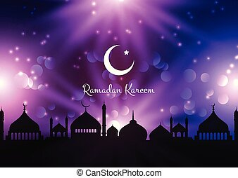 Ramadan Kareem background with mosque silhouettes against night sky
