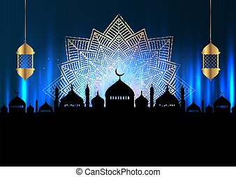 Ramadan Kareem background with mosque silhouettes and hanging lanterns 1603