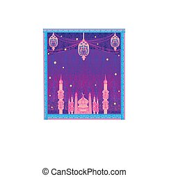 Ramadan Kareem background with mosque silhouettes