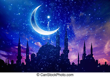 Ramadan Kareem background with mosque silhouettes, crescent and stars