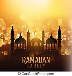Ramadan kareem background with mosques on bokeh lights 1704