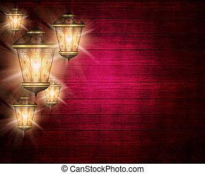 ramadan kareem background with shiny lanterns - dark wooden...