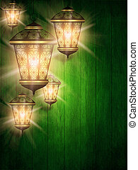 ramadan kareem background with shiny lanterns - green...