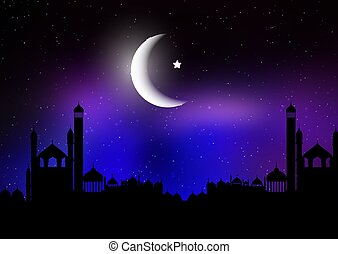 Ramadan Kareem background with silhouettes of mosques against a night sky with moon