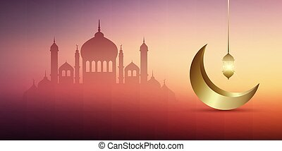 ramadan kareem banner design with mosques, gold crescent and hanging lantern