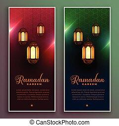 ramadan kareem banner design with realistic lamps