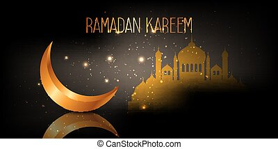 ramadan kareem banner with crescent and mosque design 2703