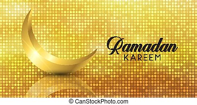 Banner with gold Ramadan Kareem design with glitter and crescent