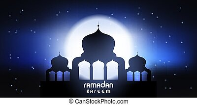Ramadan Kareem banner with mosque silhouette against a moonlit sky