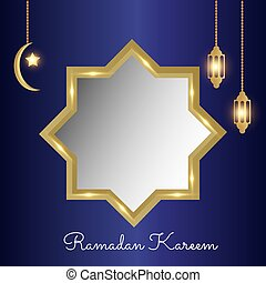 Ramadan Kareem beautiful background for muslim festival with blue background and gold