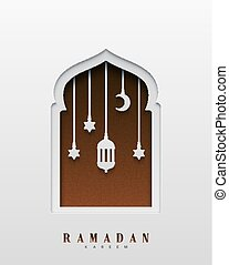 Ramadan Kareem beautiful design of paper art and craft style. Greeting card. Vector illustration