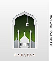 Ramadan Kareem beautiful design of paper art and craft style. Greeting card. Vector illustration