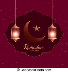ramadan kareem beautiful greeting card with hanging lanterns