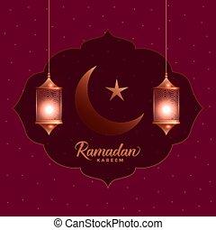 ramadan kareem beautiful greeting card with hanging lanterns