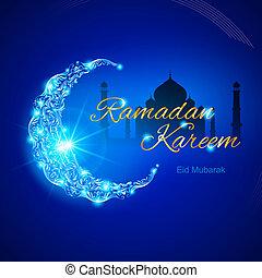 ramadan, kareem, begroetende kaart