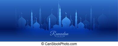 ramadan kareem blue banner with mosque design