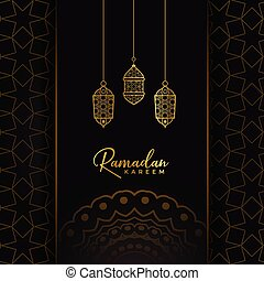 ramadan kareem card design with hanging golden lamps