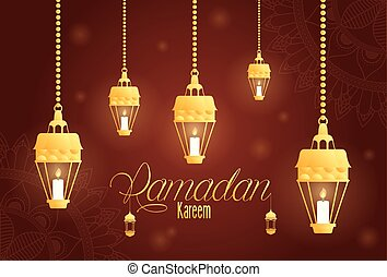 Ramadan kareem card with golden lanterns hanging