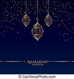 ramadan kareem card with islamic hanging lanterns