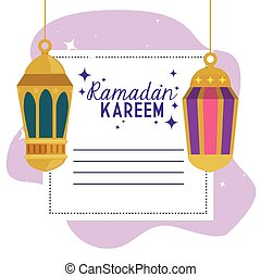 ramadan kareem card with lanterns hanging