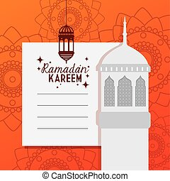 ramadan kareem card with mosque facade and lantern hanging