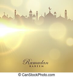 ramadan kareem card with mosque silhouette