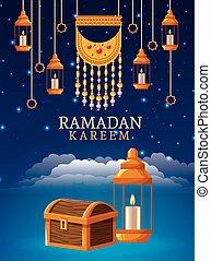 ramadan kareem celebration card with lanterns hanging and chest