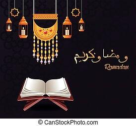 ramadan kareem celebration card with lanterns hanging and koran
