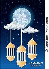 ramadan kareem celebration card with lanterns hanging at night