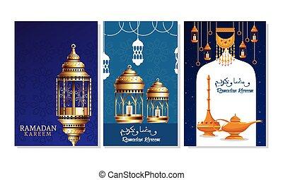 ramadan kareem celebration card with lanterns hanging
