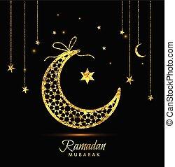 Ramadan Kareem celebration greeting card decorated with moons and stars