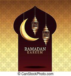 ramadan kareem celebration with golden lanterns hanging