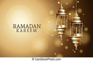 ramadan kareem celebration with golden lanterns hanging