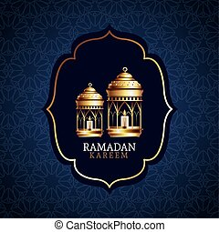 ramadan kareem celebration with golden lanterns