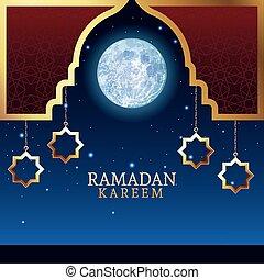 ramadan kareem celebration with golden stars hanging