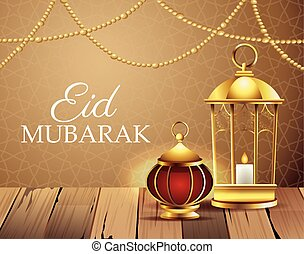 ramadan kareem celebration with lamps