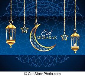 ramadan kareem celebration with stars and moon hanging