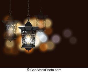 Ramadan Kareem. Celebratory background. Flashlight in oriental style. Against the background of colored lights. illustration