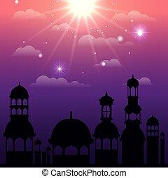 ramadan kareem cityscape silhouette scene