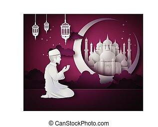 Ramadan kareem - Ramadan Kareem with Muslim man.