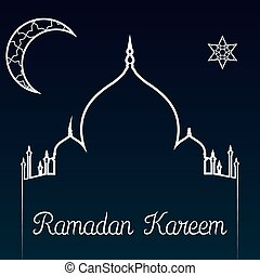 Ramadan Kareem - Colored background with text and elements...