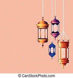 ramadan kareem colors lanterns hanging