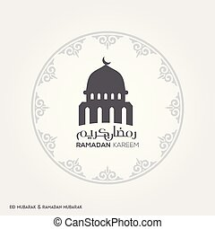 Ramadan Kareem Creative typography with a Domb of Masjid in an Islamic Circular Design on a White Background