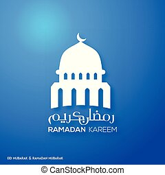 Ramadan Kareem Creative typography with a Domb of Masjid on a Blue Background