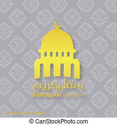 Ramadan Kareem Creative typography with a Domb of Masjid on a Blue Pattern Background